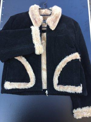 Giacca di pelliccia nero-beige