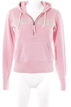 Cordon Kapuzenpullover rosa-creme Schriftzug gestickt Casual-Look