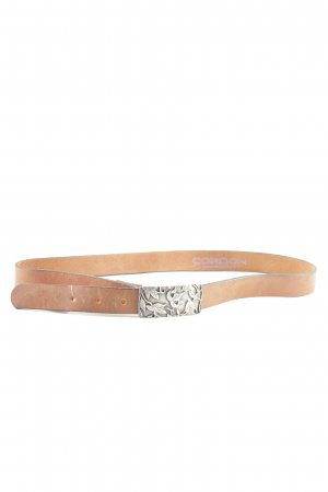 Cordon Leather Belt brown-silver-colored casual look