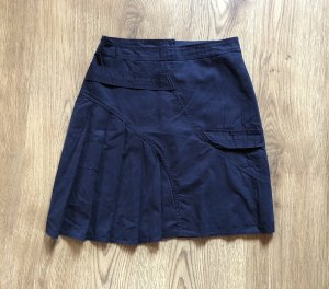 Pleated Skirt dark blue cotton