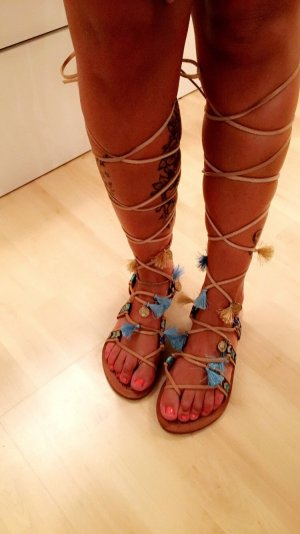 Roman Sandals light brown-baby blue