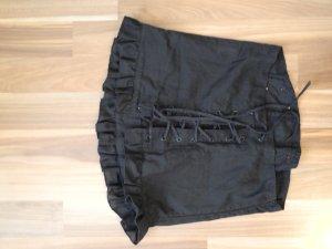 Corsage Loch Intarsien Muster struktur Baumwolle Corsage Mieder schnüren Top Bandeau schulterfrei äremllos schwarz sexy romantisch feminin