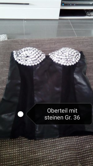 Haut type corsage noir-argenté