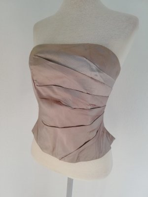 Corsage Seide Korsage Top Oberteil Monsoon Gr. UK 10 38 S M taupe NP 130 euro