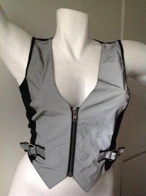 Corsage/Top schwarz/grau reflektierend in Gr. M  - 38/40