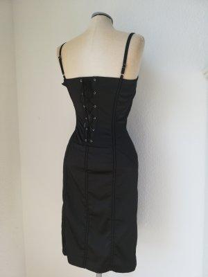 Corsagekleid Corsage Kleid schwarz knielang Gr. 34 XS Schnürung geschnürt gothic