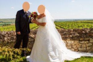 Corsagen-Brautkleid Hochzeitskleid maßgeschneidert weiß wie neu!