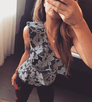 Zara Haut type corsage noir-blanc