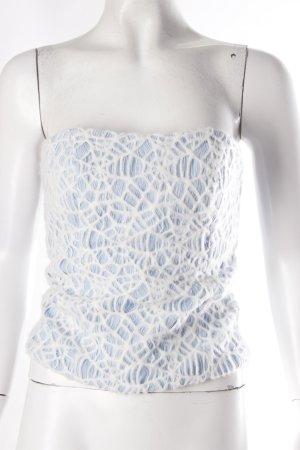 Corsagen-Top hellblau Spinnenweben Muster