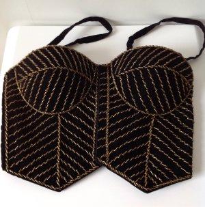 Haut type corsage noir-doré coton