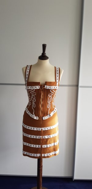 Corsage Dress cognac-coloured-white viscose
