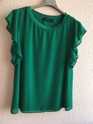 Cortefiel Ruche blouse groen Polyester