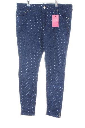 Cortefiel Skinny Jeans blau-weiß Punktemuster Casual-Look
