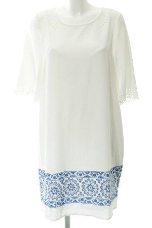 Cortefiel Abito a tunica bianco-blu motivo floreale stile vintage