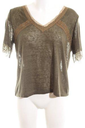 Cortefiel V-Ausschnitt-Shirt braun Allover-Druck Casual-Look