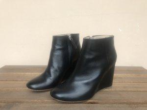 COS Ankle Boots Gr.38 Wedges Keilabsatz Leder schwarz Stiefeletten