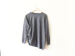 COS asymmetrischer Merino Wolle Pullover Gr. L M 40 grau