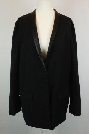 COS Blazer Wollblazer Gr. 42 schwarz Lederkragen