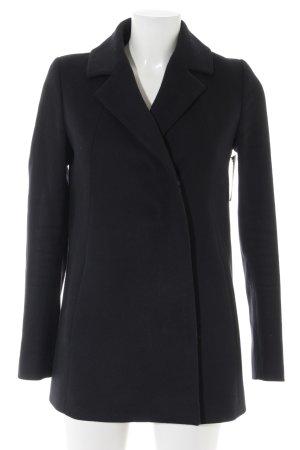 COS Pea Jacket dark blue weave pattern casual look