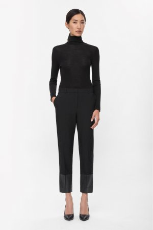 COS Contrast Cuff Trousers 38 || Minimal Chic || Schwarz