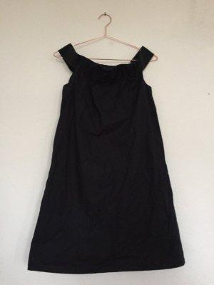 COS Off-The-Shoulder Dress dark blue cotton