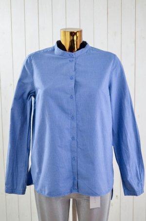 COS Damen Bluse Hemd Mittelblau Melange Baumwolle Kragenlos Langarm Gr.40