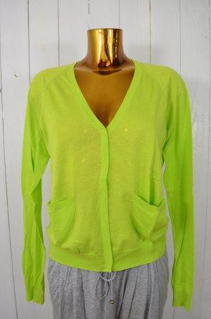 COS Damen Strickjacke Cardigan Baumwolle Grün Knallgrün V-Ausschnitt Gr.M
