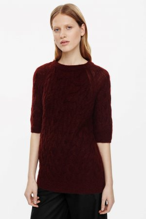 COS Knitted Sweater bordeaux mohair