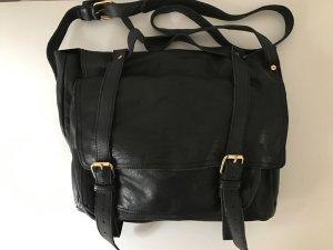 COS Echtleder Umhängetasche schwarz Messengerbag