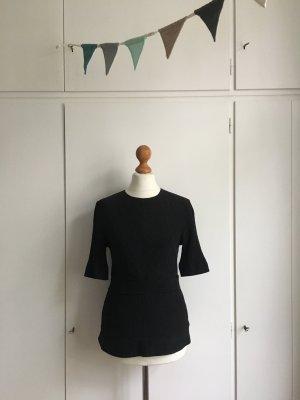 COS | Edle Bluse | Crinklebluse | Shirt | eng anliegend | Seide | Baumwolle | Schwarz | Gr. 34