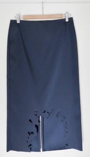 COS eleganter Bleistiftrock mit Laser-cut-outs, dunkelblau, Gr. 36