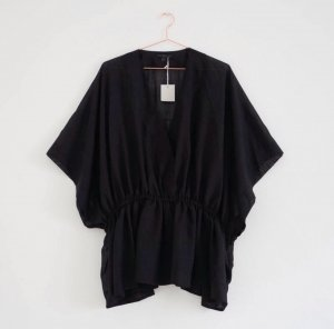 Cos Kimono Tunika Oversize Boxy Wolle Shirt Schwarz Vince James Perse S M 36 38