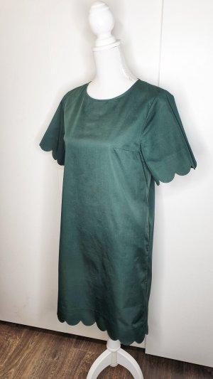 COS Kleid 36 dunkelgrün Wellenkante Wellensaum Bogenkante