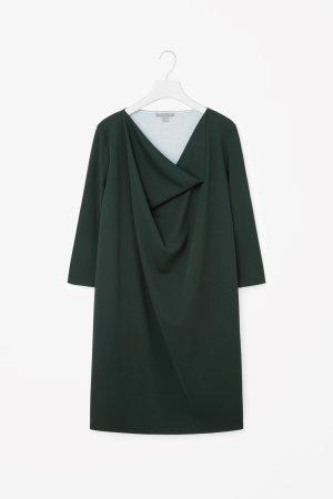 COS Kleid Drapiert Dunkelgrün Business Clean Chic XS 34 NEU