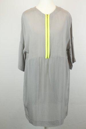 COS Kleid Kurzarmkleid Gr. 36 grau neongelb Reißverschluss oversized