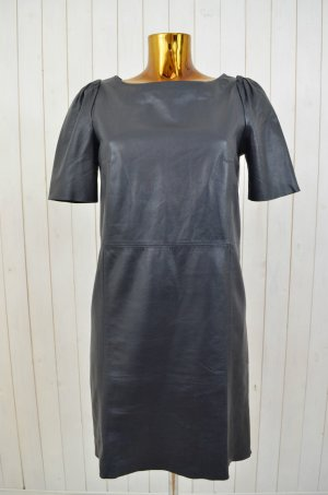 COS Kleid Lederkleid Leder Blau Glattelder Gefüttert Raffung Kurzarm Rundhals 36