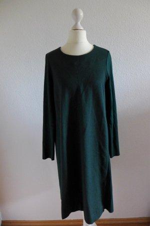 COS Kleid Materialmix Baumwolle Wolle Langarm Blogger dunkelgrün Gr. M 38 40
