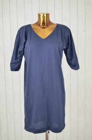 COS Kleid Strandkleid Baumwolle Blau Halber Arm Gerafft Gr.M