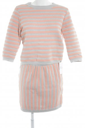 COS Ladies' Suit light grey-apricot striped pattern casual look