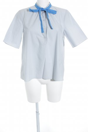 COS Short Sleeved Blouse light grey-cornflower blue classic style