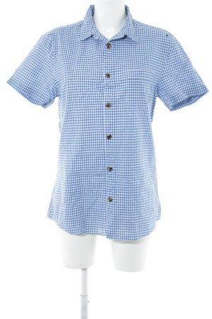 COS Kurzarmhemd neonblau-weiß Karomuster Casual-Look
