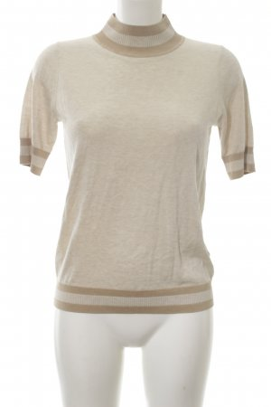 COS Short Sleeve Sweater cream-brown striped pattern casual look