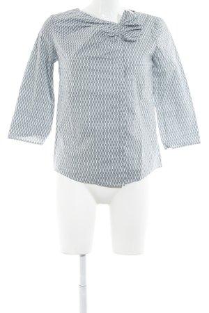 COS Langarm-Bluse weiß-blau abstraktes Muster Casual-Look