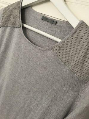 COS langes Leinen-Tshirt Longshirt Top mit Lederapplikationen Gr. S