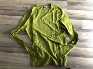 COS Crewneck Sweater dark yellow-lime yellow cotton