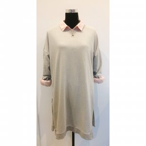 COS Long Sweatshirt hellgrau M L 38 40 42 Sweater Pullover Kleid Reißverschluss