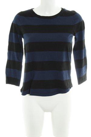COS Longsleeve dunkelblau-schwarz Streifenmuster Casual-Look