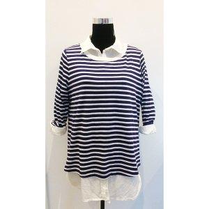 COS oversize Streifen Shirt M L 38 40 blau weiß maritimes Basic Longsleeve