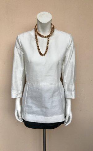 COS Peplum Bluse Gr.36 Baumwolle Schößchen Seide Halbarm Struktur geriffelt off-white weiß