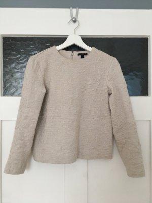 COS Pulli Pullover Shirt Hemd Bluse Top Beige Nude Weiß Creme Muster Struktur XS 34
